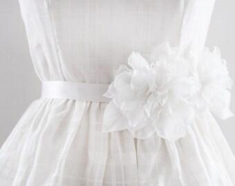 JULY - Floral Bridal Sash in Light Ivory
