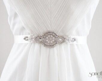 LARISSA - Beaded Rhinestone and Pearl Bridal Sash