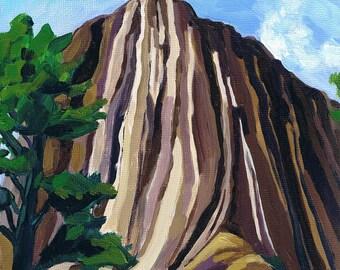 "Devil's Tower Wyoming Painting, Landscape, Original Art, 8"" x 8"" x 3/4"""