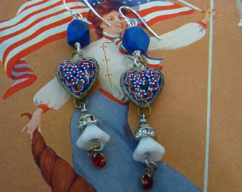 LOVE OF COUNTRY patriotic red white and blue micro mosaic heart  vintage antique assemblage  earrings