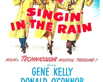 """Singin' in the Rain - Musical Comedy Poster Print - 13""""x19"""" or 24""""x36"""" - Singing in the Rain - Gene Kelly - Debbie Reynolds -Donald O'Conner"""