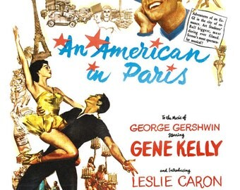 """Gene Kelly - An American in Paris - Home Theater Media Room Decor- 13""""x19"""" or 24""""x36"""" - Movie Musical Poster Print - George Gershwin"""