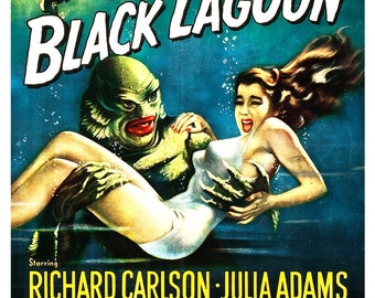 """Creature From the Black Lagoon - Home Theater Decor - Horror Monster Movie Poster Print  13""""x19"""" - Vintage B Movie Poster - 50s kitsch"""