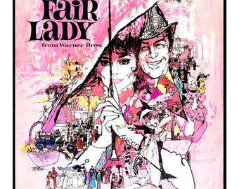 "My Fair Lady - Home Theater Decor - Classic Movie Poster Print - 13""x19"" or 24""x36"" - Broadway Musical - Audrey Hepburn - Rex Harrison"