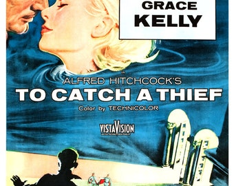 "To Catch A Thief - Alfred Hitchcock Movie Poster Print - Home Theater Decor - 13""x19"" or 24""x36"" Movie Poster Art - Cary Grant - Grace Kelly"