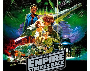 "The Empire Strikes Back - Star Wars print  - 13""x19"" or 24""x36"" - Large Starwars Poster print - Han Solo - Lando - Media room decor"