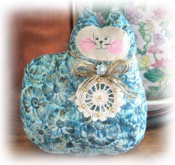 Cat Pillow Doll, Cloth Doll 7 inch, Aqua, Teal and Gold Primitive Soft Sculpture Handmade CharlotteStyle Decorative Folk Art