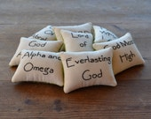 Names of God Decorative Pillows - Religious Bowl Fillers - Tucks - Bible - Scripture - Home Decor - Hand Embroidery - Green - Flowers