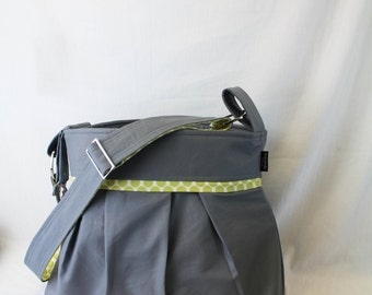 Stella Chevron Diaper Bag - Large Messenger Bag - Gray with Lime Dots- with Elastic Pockets Adjustable Comfort Strap Stroller Attachment