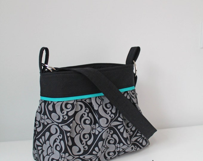 Stella Chevron Diaper Bag - Large - Gray Damask with Black and Teal accent- with Elastic Pockets Attaches to Stroller