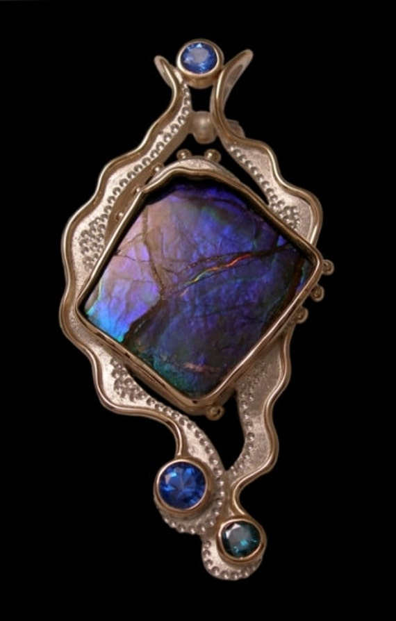 one-of-a-kind  'renate' pendant / brooch handmade in 10 K gold, ammolite, evergreen topaz and glacier blue topaz by Rubyblue Jewelry