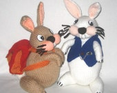 Backpacking Bunny & White Rabbit - KNITTING PATTERN - pdf file by automatic download