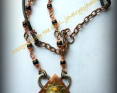 Mixed Metalwork Bumble Bee Jasper Yellow Black Southwest Pendant Necklace