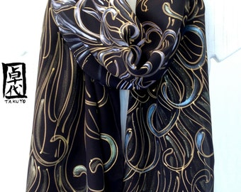 Hand Painted Silk Scarf, Chrysanthemums Black and Gold Scarf, Crepe de Chine, Black Floral, Scarf for Wife, 14x70 inches. Made to order