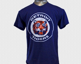 Detroit Tigers Tshirt 1984 Logo Triblend Navy Tshirt Tigers Opening Day 2017 Tigers Fan Gift USA Made