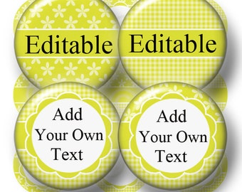 Editable Bottle Cap Images, Digital Collage Sheet, 1 inch Circles, Instant Download, Yellow-Green (V No.3) Cupcake Toppers, Glass Tiles,