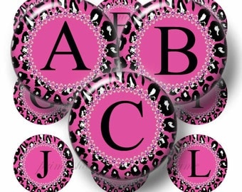 Alphabet, Hot Pink Leopard Print, Bottle Cap Images, Digital Collage Sheet, 1 Inch Circles, Printable, Instant Download. Bottle Caps