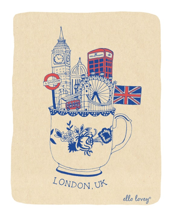 London Teacup Art Print - 8x10