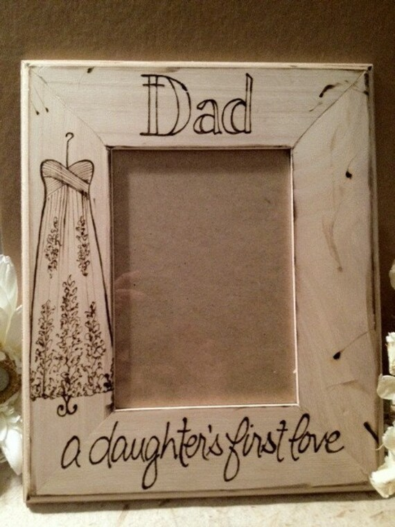 wedding gift for dad with your dress engraved on the wood frame rustic