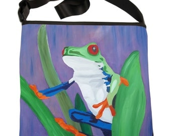 Frog Large Square Bucket  Handbag by Salvador Kitti - Costa Rican Red Eyed Tree Frog