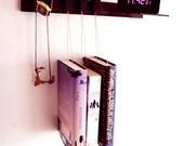 Nightstand in Wenge. Floating bedside table. Hanging bedside rack.