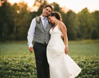 Handmade Silk Modern Garden Wedding Dress, Plunging V-neck, Full Silk Skirt, Elegant Simple Wedding Gown - Custom Made Plus Size available