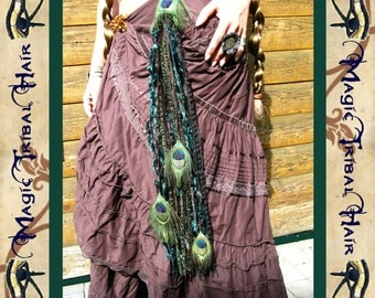 Fairy pixie elf PEACOCK FEATHER yarn falls TASSELS for hip scarf & wrap skirt Fantasy hair extensions Tribal Fusion Belly Dance costume Larp