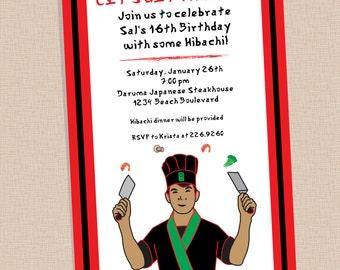 Hibachi Party . Invitation . Any Colors