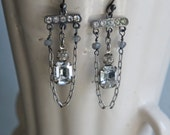 Vintage assemblage earrings rhinestones gemstones vintage dangle assemblage jewelry -  by French Feather Designs.