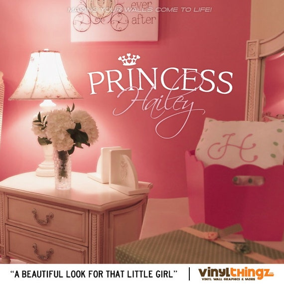 Princess Vinyl Decal Wall Sticker Words Lettering Nursery: Princess Wall Decals Girls Nursery Custom By VinylThingzWalls