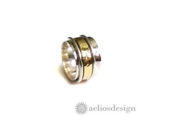 Triple Spinner Ring Sterling Silver and Bronze