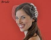 """Bandeau 71 -- Veil Set w/ SILVER RHINESTONE LEAF Flower Hair Comb & Ivory or White 9"""" Birdcage Blusher Veil for wedding bridal accessory"""