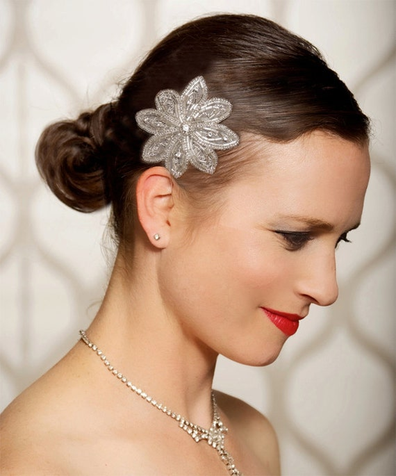 Art Deco Crystal Hair Clip, Crystal, Silver Fascinator, Bridal Hair Piece, Wedding Hair Accessories