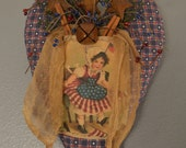 Primitive Fabric Heart,  Summer Decor, Patriotic, Americana, Heart Wall Hanger