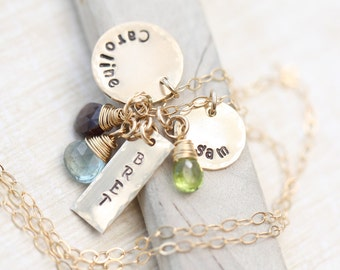 Hand Stamped Birthstone Necklace, GOLD Personalized Necklace with three names,  Wire Wrapped Birthstone Necklace,  Mothers Necklace