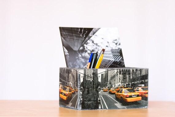 NY Pencils Holder, Black Desk Accessory, Home Office gift for him, New York Notebook Holder, Desk Organizer, Teacher gift