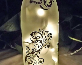 ABSTRACT GARDEN with GEMS Recycled Glass Bottle Accent Lamp/Light-Great Gift Idea