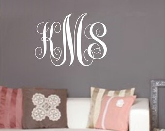 Large Monogram Wall Decal Initials Decals Boy Nursery Monogram Girl Nursery Monogram Decal Personalized Decals For Kids or Adults Vinyl