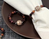 RESERVED for Lynn - Beaded Napkin Rings in Wooden Beads Set of Four