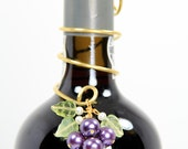 Wine Bottle Decoration Custom Beaded Pearl Grapes on Wire Coil