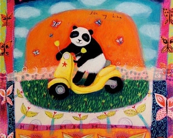Panda and Scooter - Like my Bike - limited edition giclee on paper/panda art/cute/childrens decor/whimsical