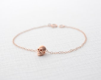 Rose gold skull bracelet - tiny skull bracelet in rose gold - 2105