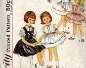 vintage 1960s childs DRESS jumper pinafore simplicity sewing pattern 4721 size 4 belt FULL skirt party applique puff sleeves RETRO