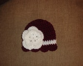 Baby Girl Maroon and White Crochet Scalloped Double Flower Hat / Beanie, Texas A&M, TAMU, Aggie, Mississippi State Bulldog