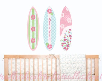 Surfboard Wall Decals, Surfing Reusable Fabric Decals, Set of 3 Surfboards, Ready to Hang, Surfboard Name Decals, Baby Surfboard Stickers