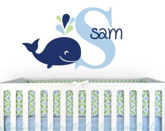 Whale Wall Decal, Personalized Whale Sticker for Kids Room, Sea Wall Art, Kids Ocean Nursery Art, Boys Name Art, Large Name Decal