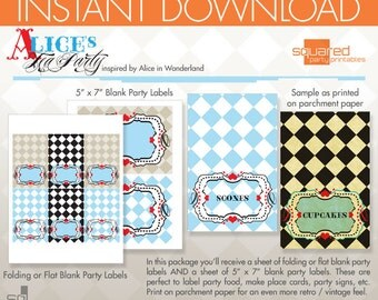 Alice in Wonderland Inspired Tea Party Printable - Blank Label Package - DIY Print - Alice's Tea Party - Instant Download