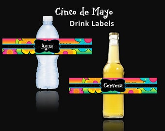 INSTANT DOWNLOAD - Printable - Cinco de Mayo Fiesta - Printable Water Bottle / Beer  Labels