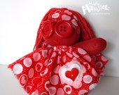 "ZOMBIE BABY Glove Doll... ""Pieceomyheart"" in red hot hearts print"
