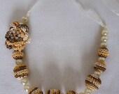 Crochet Necklace, Crochet Beads Necklace, Beaded Necklace, Crochet Jewelry, Bridesmaid gifts necklace, Crocheted Beads, Ribbon